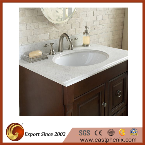 White quartz stone vanity top