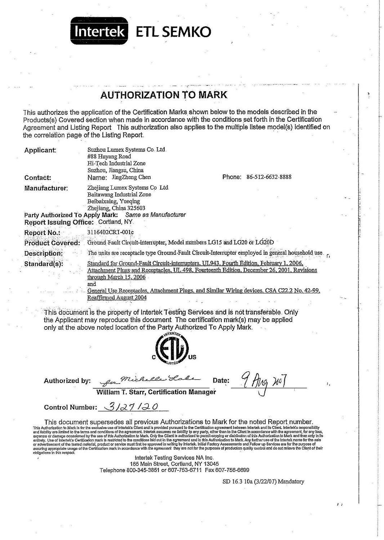 ETL Authorization for GFCI