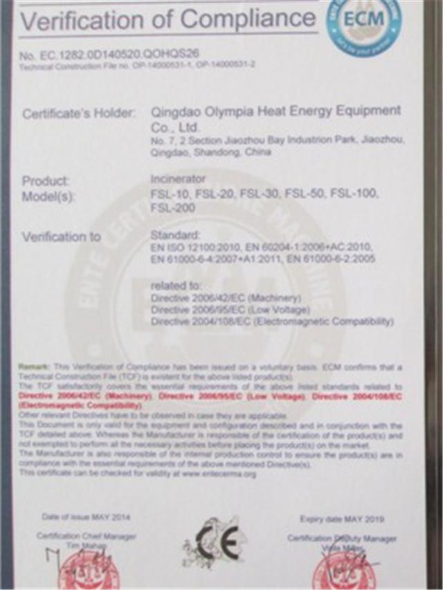 CE certificate of burner