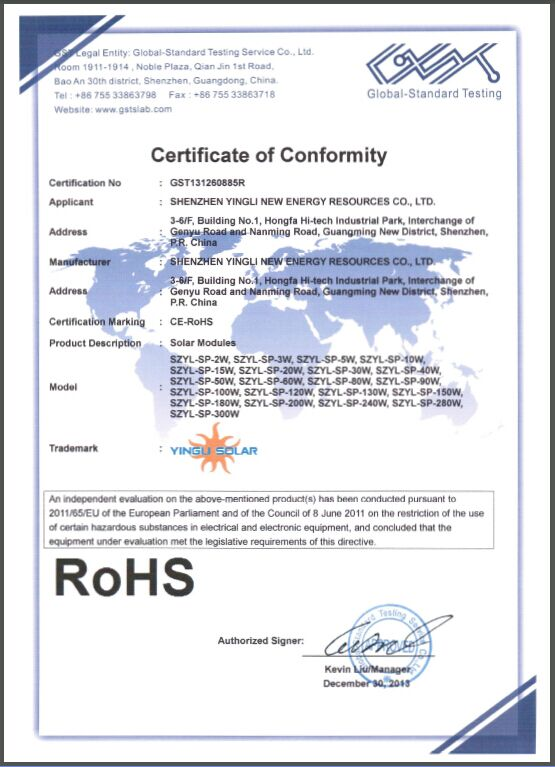 ROHS CERTIFICATE of SOLAR PANEL