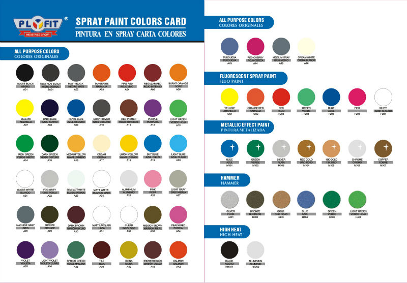 Spray Paint Colors Card