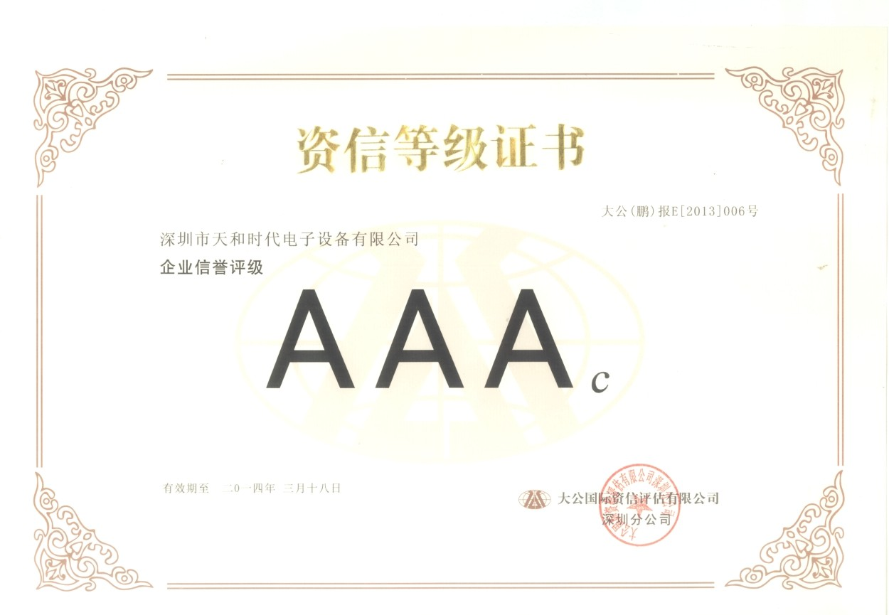 Credit rating certificate of Security Electronic Equipment Co.,Ltd