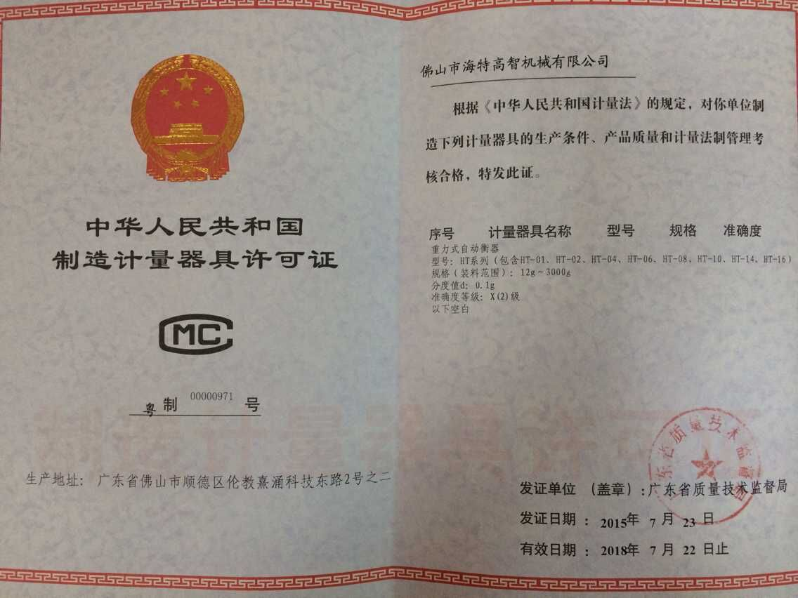License for China manufacturing measuring instruments