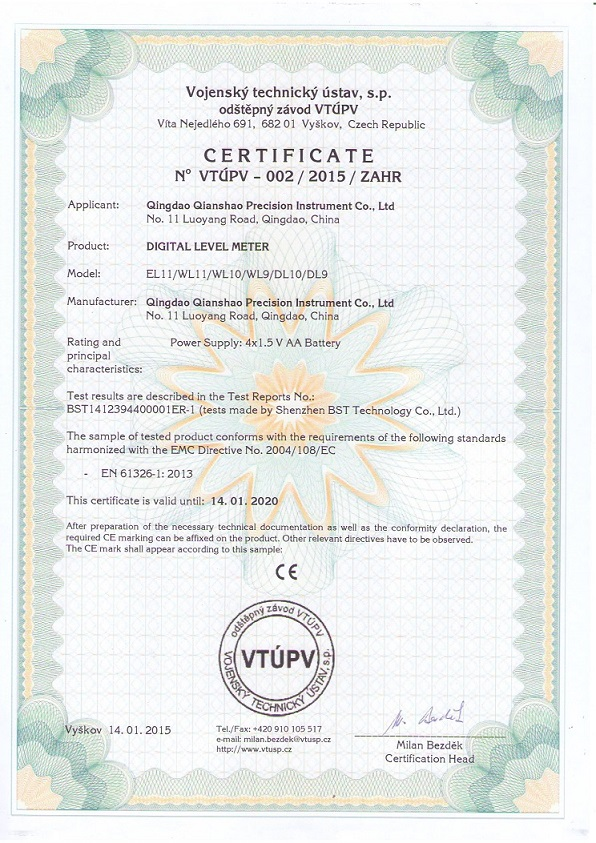 CE Certificate for Electronic Spirit Levels