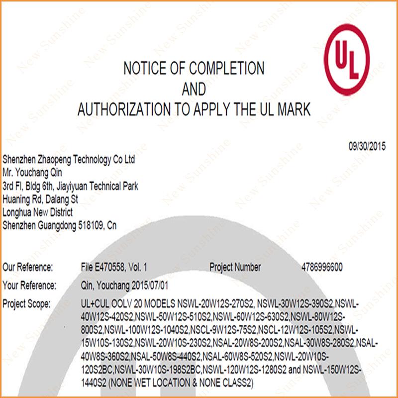 UL cUL certification LED light