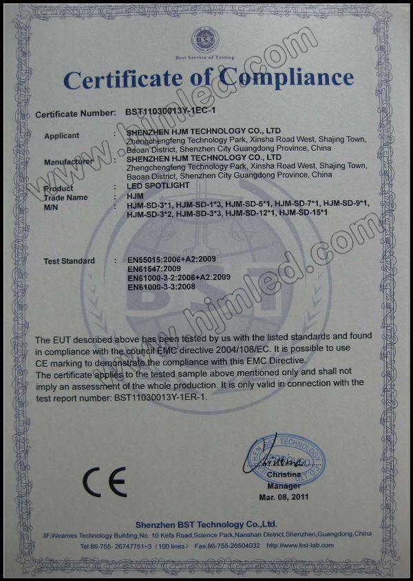 HJM LED Spotlight CE-EMC Certification