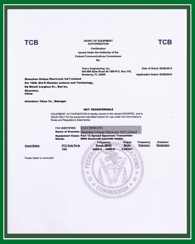 FCC certficate for MS3391-C