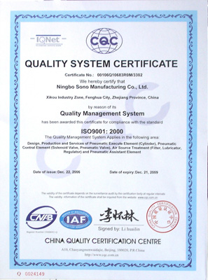 CQC Quality System Certificate