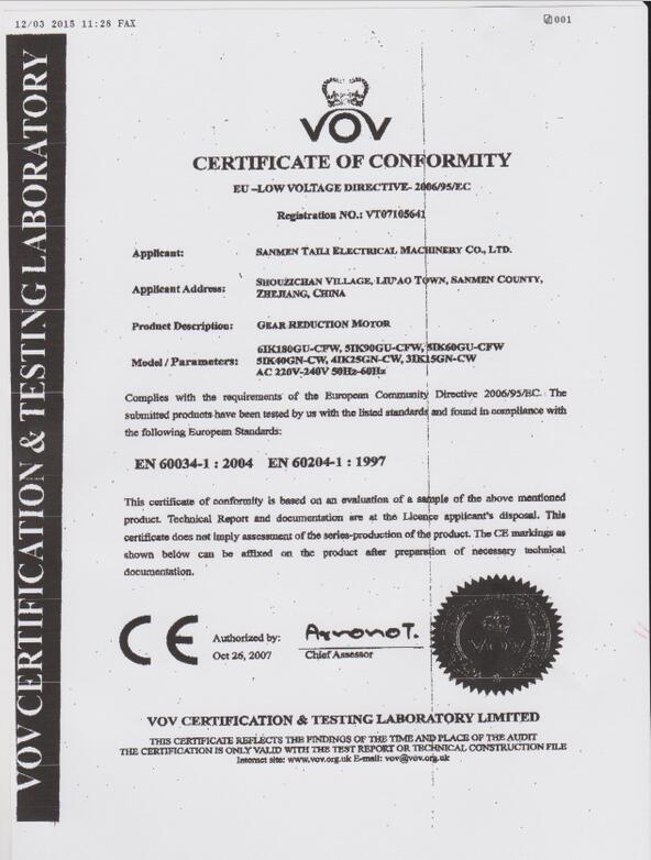 CE certificate for motor