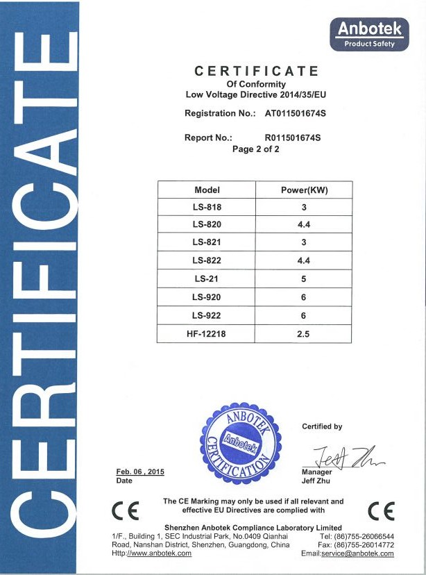 certification of conformity for table top griddle