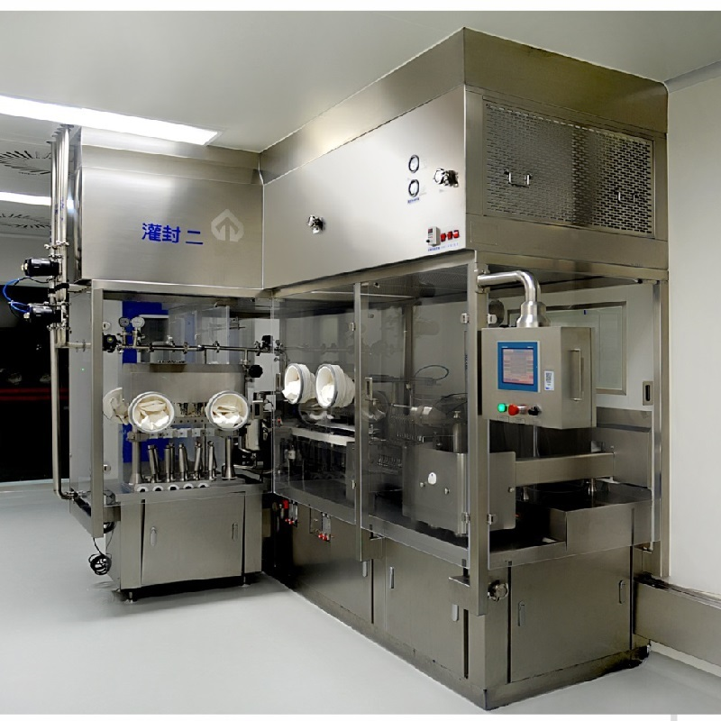 Injectable liquid vial filling and rubber stoppering machine