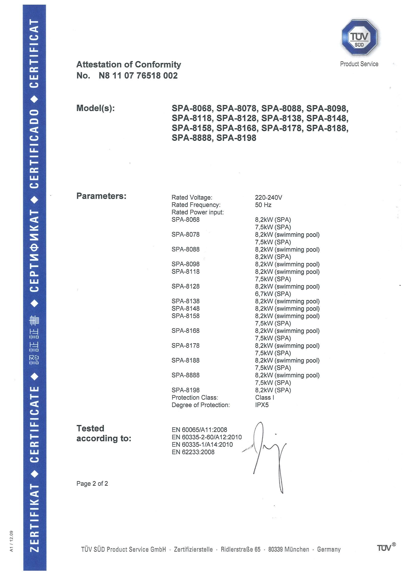 TUV Certificates for Swim SPA
