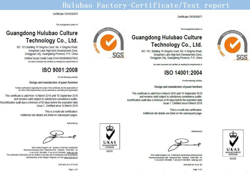 HULUBAO FACTORY ISO9001:2008 and ISO14001:2004