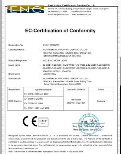 CE EMC For Work Light