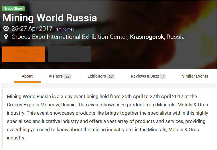 Exhibition - Mining World Russia 25-27 Apr 2017- Welcome to contact us in coming exhibition!