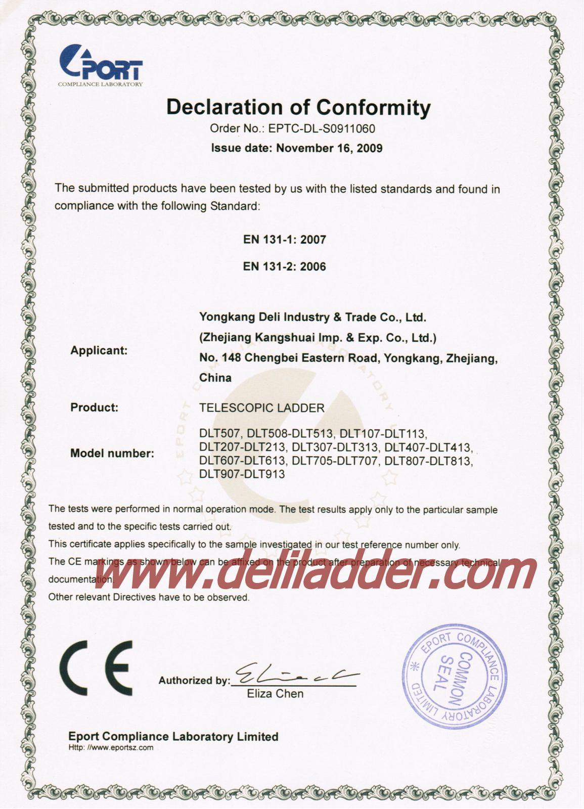 Telescopic ladder EN 131 certificate