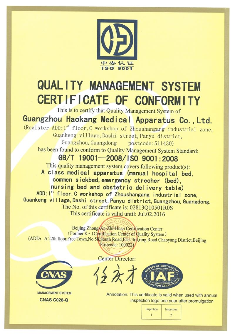 ISO9001:2008 Certificate of Quality Management System