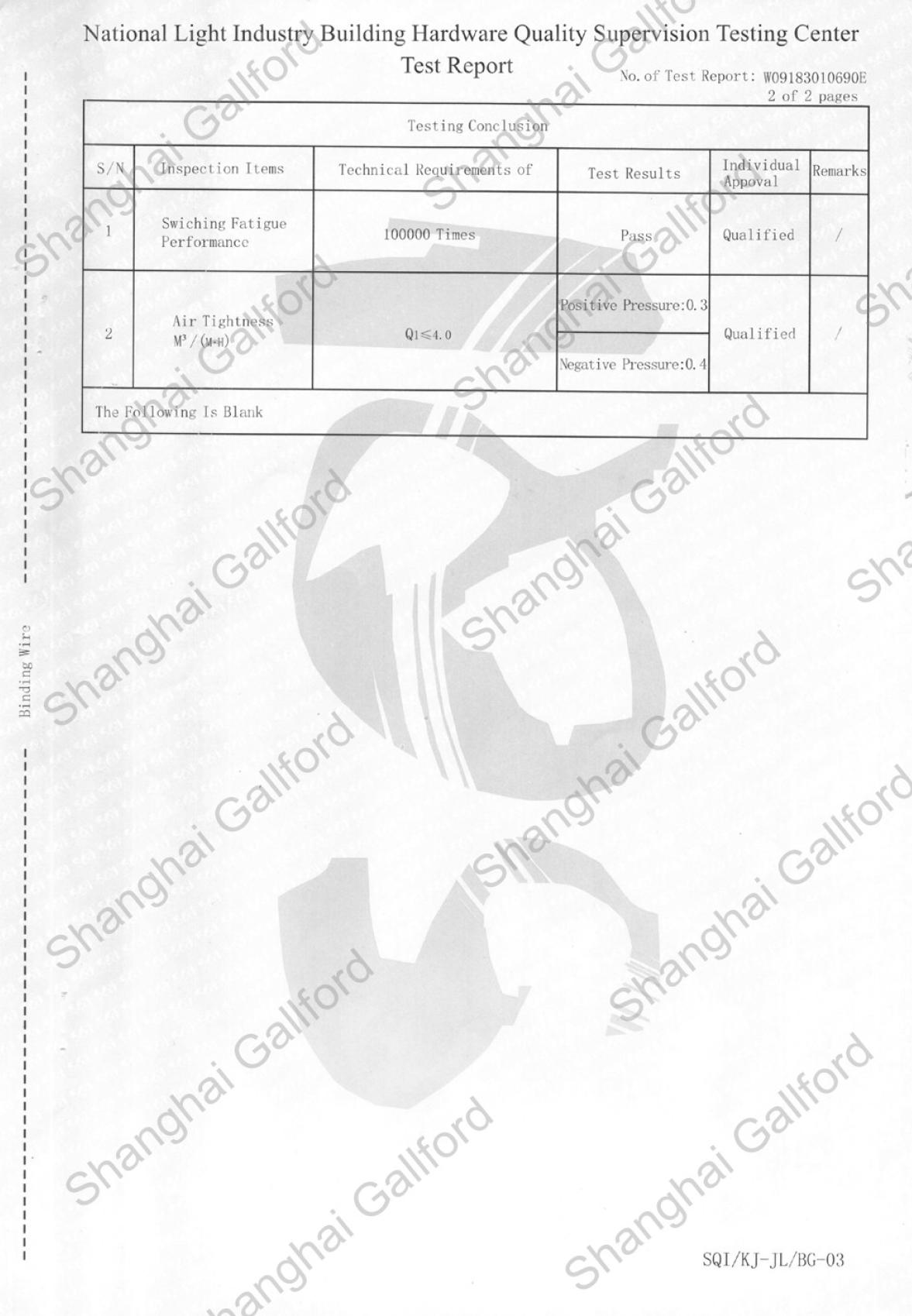 Test Report for Automatic door bottom seal