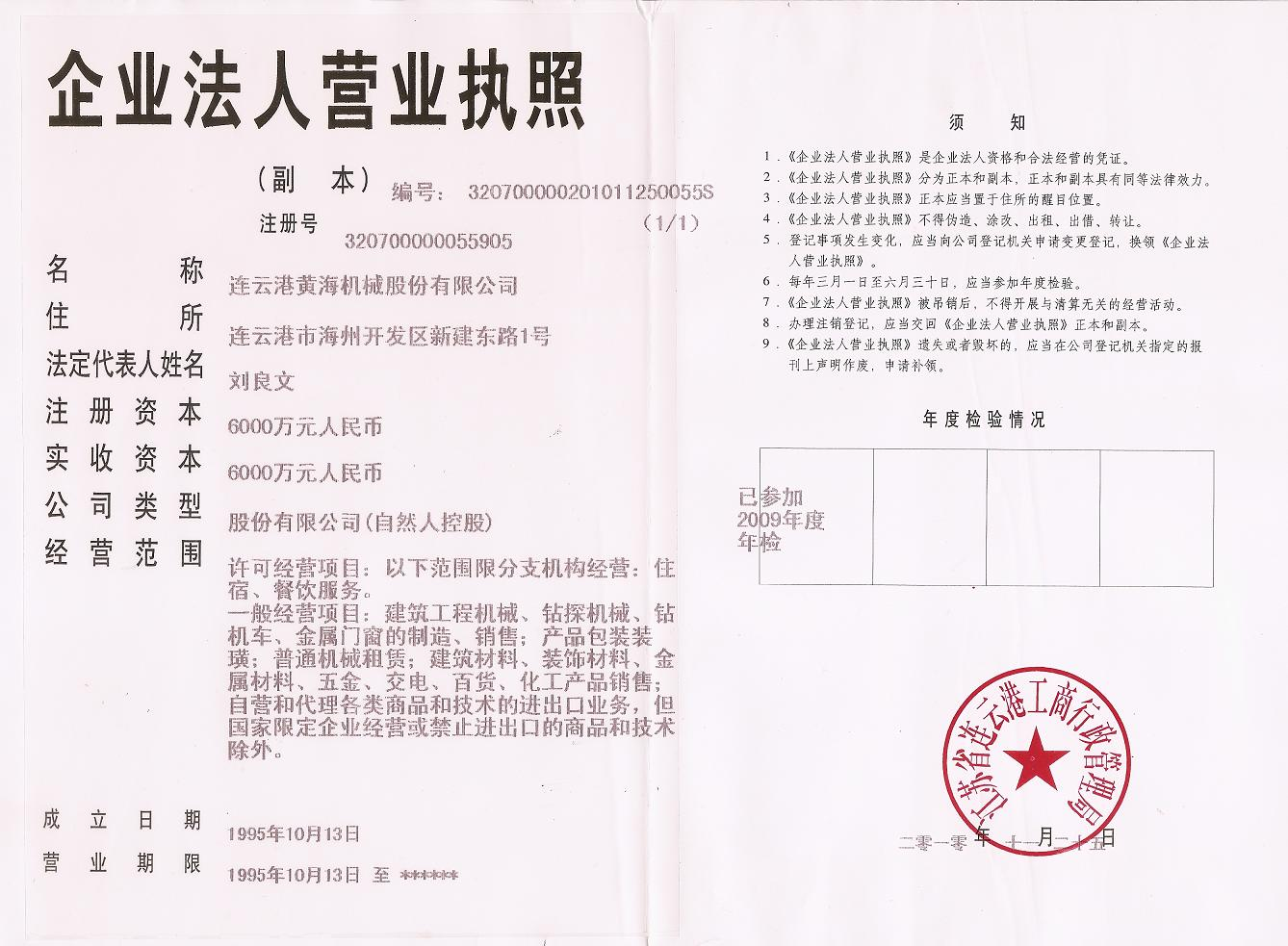 Business Licence Certificate---in Chinese