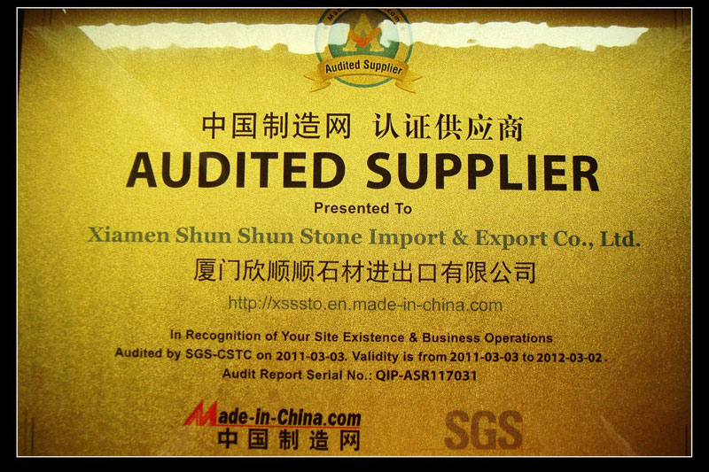 Audited Supplier Certificate - 2011