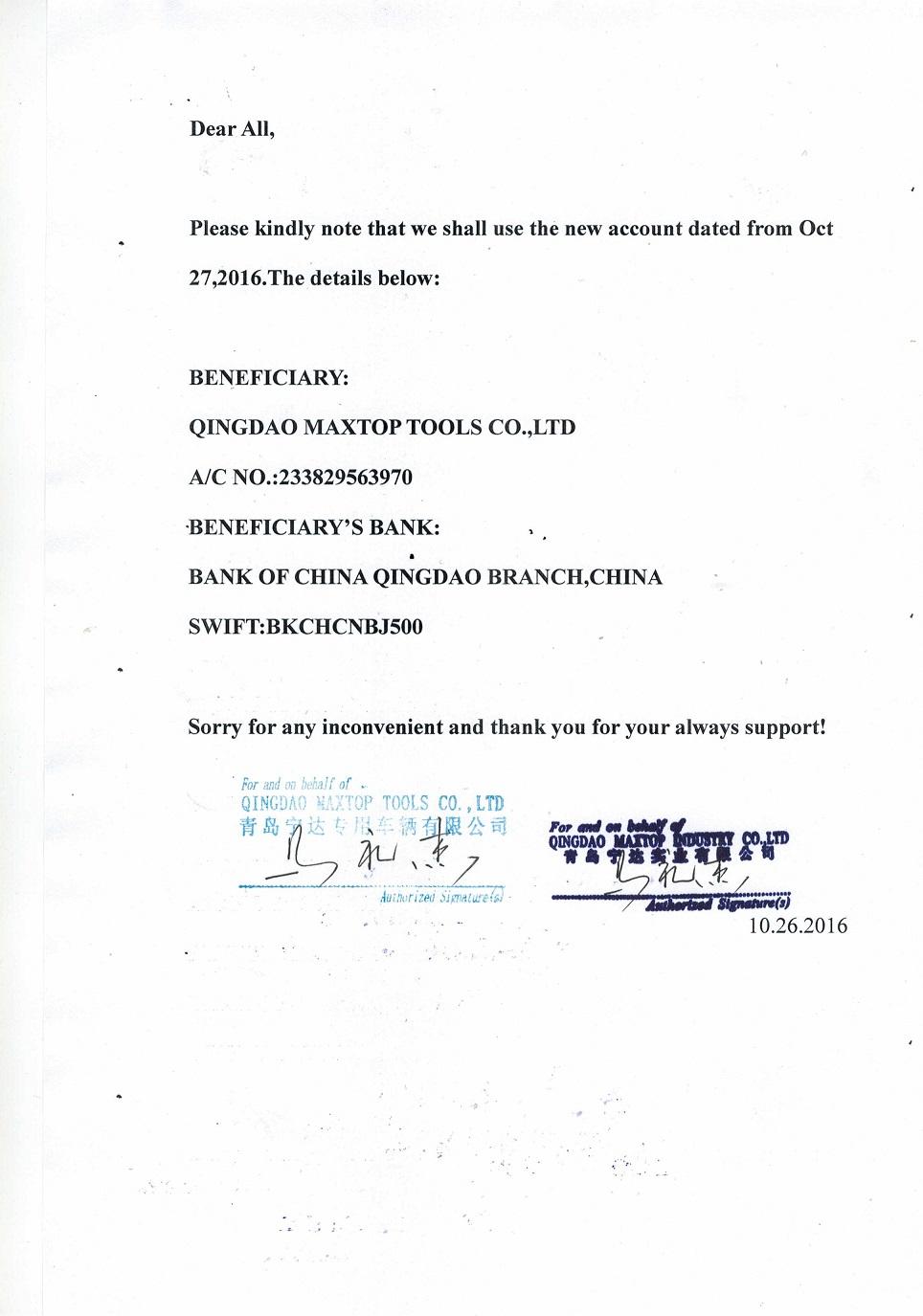 Bank Account Change Notice