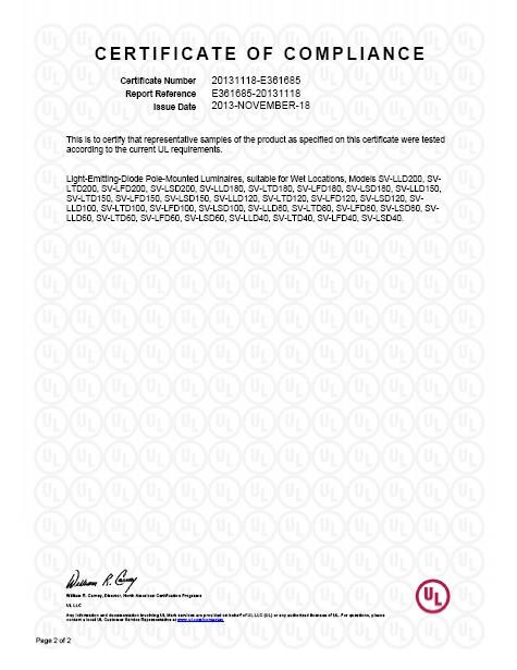 Certificate of UL Compliance