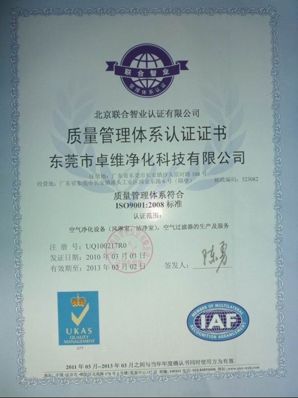 ZHUOWEI BARAND PRODUCT ISO Certificates