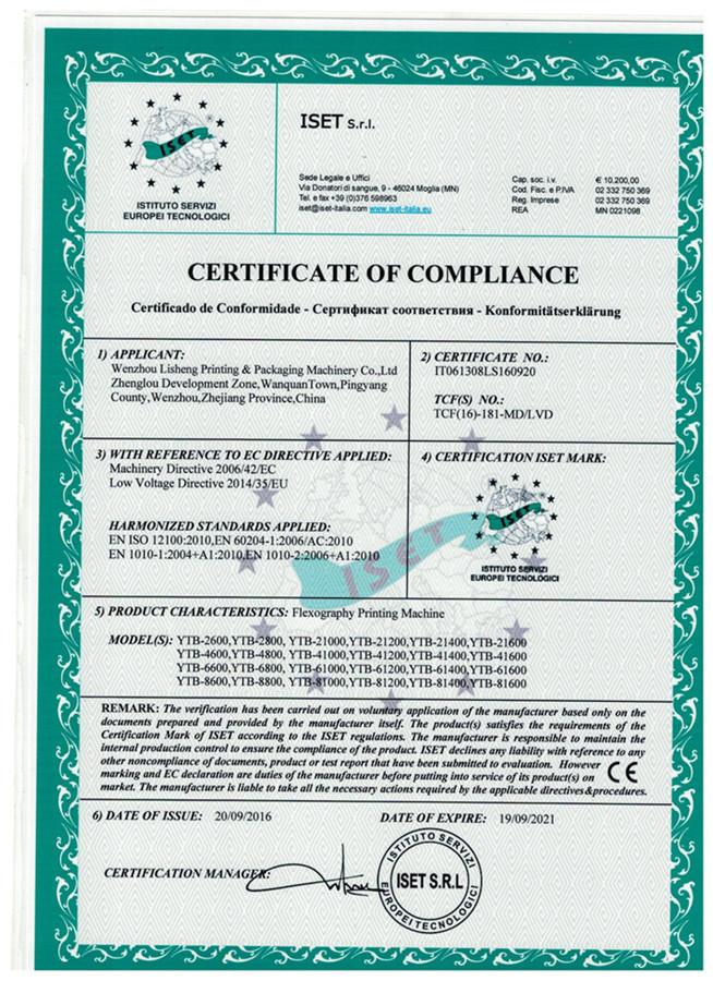 New CE certificate