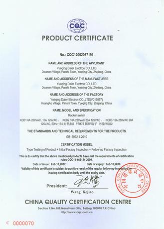 CQC PRODUCT CERTIFICATE