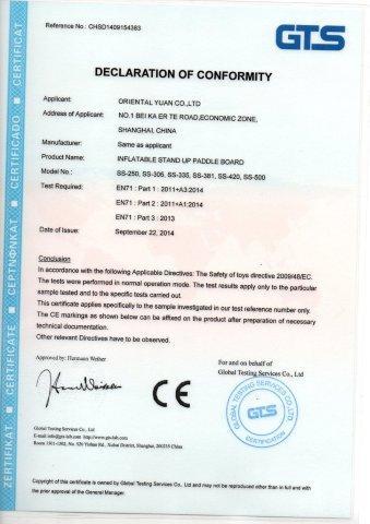 CE Certificate of SUP Board