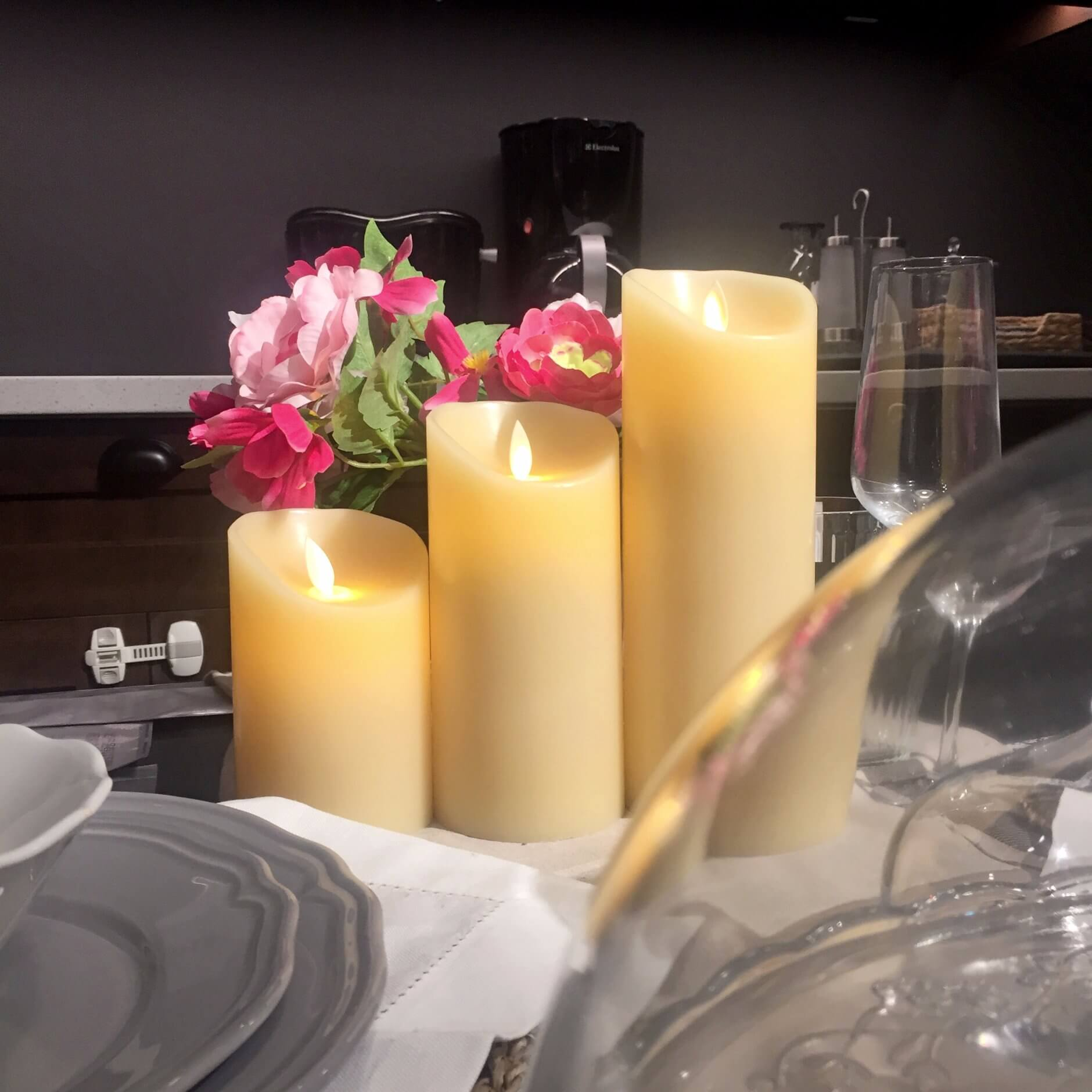 Ivory Swing Pillar Flameless LED Candle with Remote and Timer