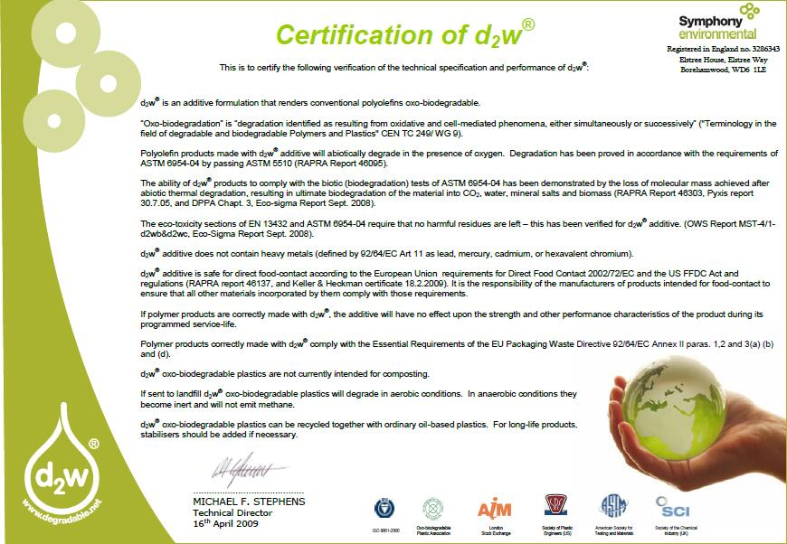 Oxodegradable Certificate