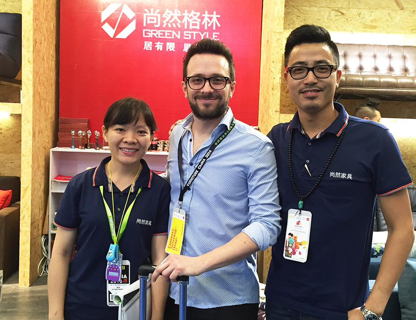 With guest during Shanghai Furniture Fair in 2016