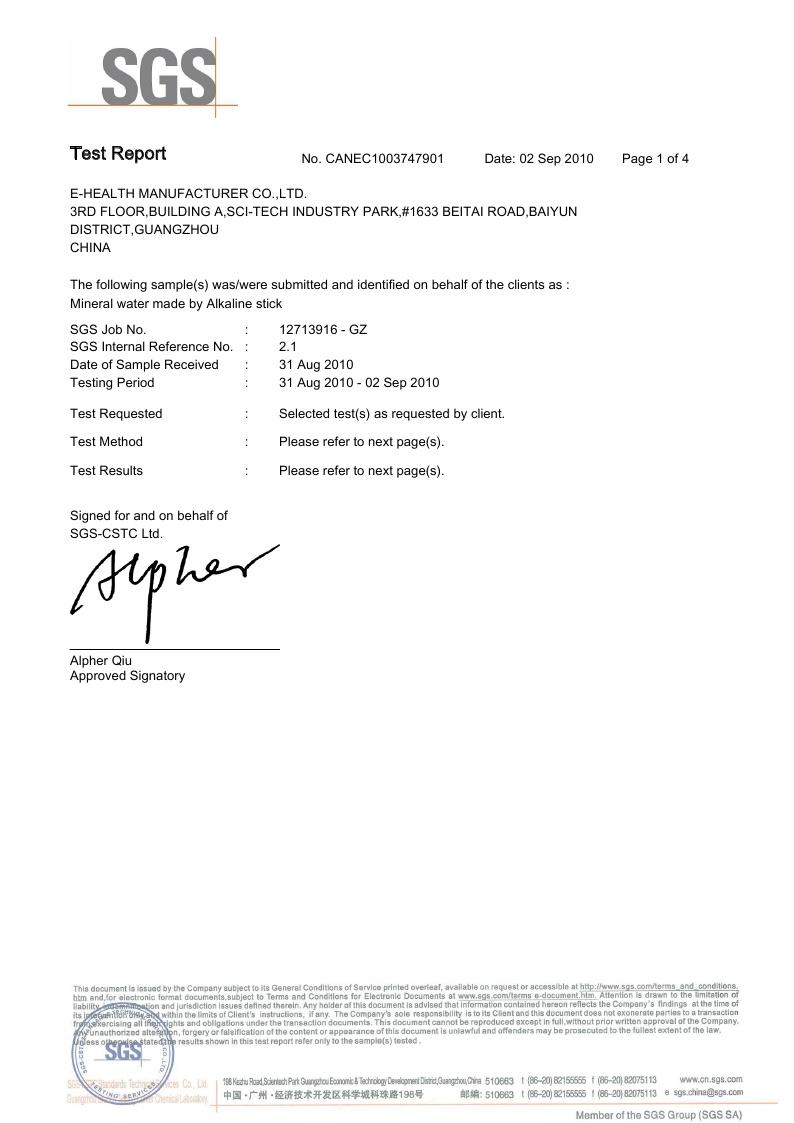 Alkaline Water Stick SGS Certificate page 1