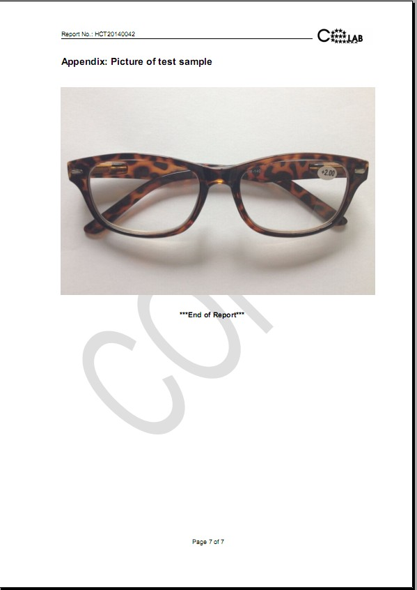 CE Report for Reading Glasses