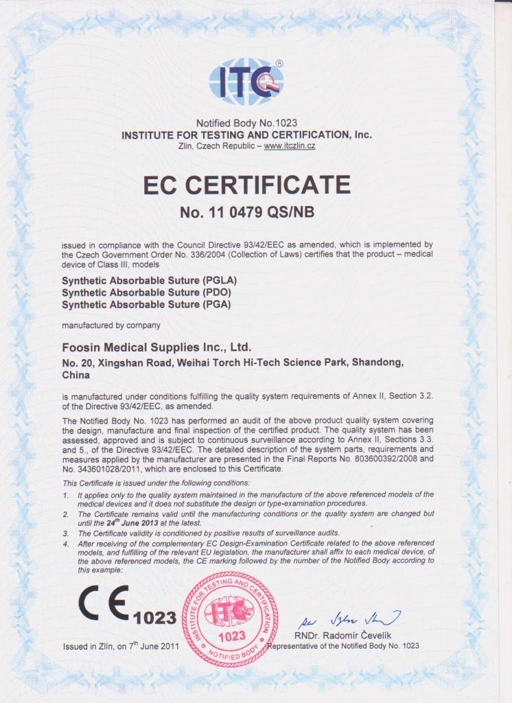 CE Certificate for Absorbable Sutures Pga, Pgla, Pdo