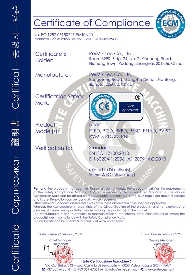 CE Certificate for Dryer