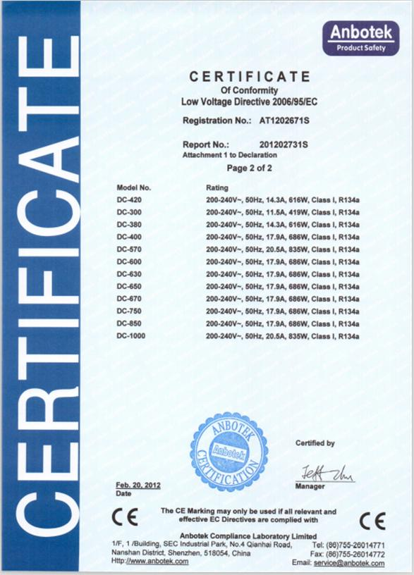 Certificate for Ice Storage Bin