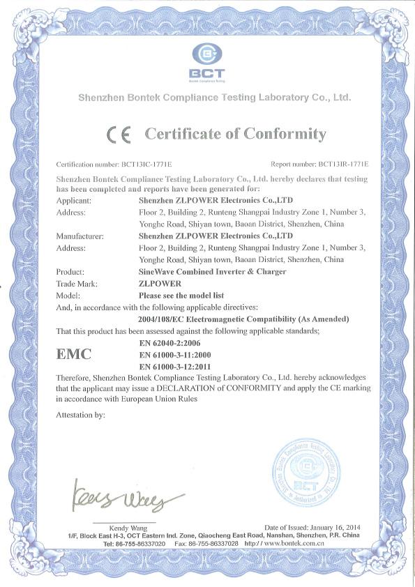 CE certificate of LW power star inverters(EMC)