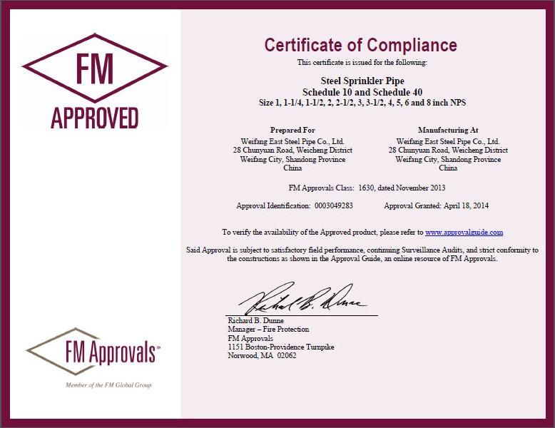 FM Certificate for Fire pipe