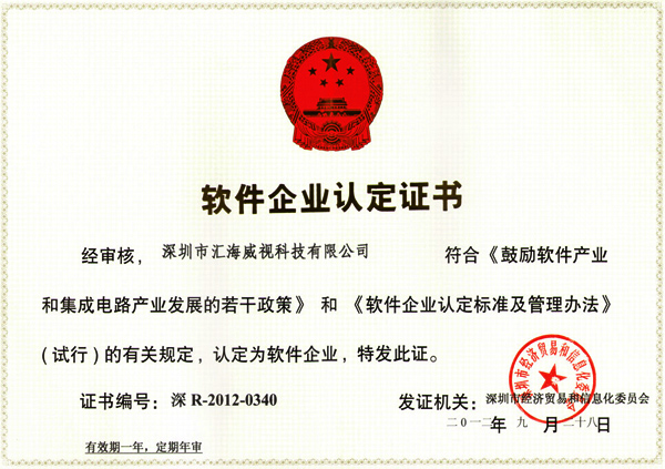 Software Company Qualification Certificate