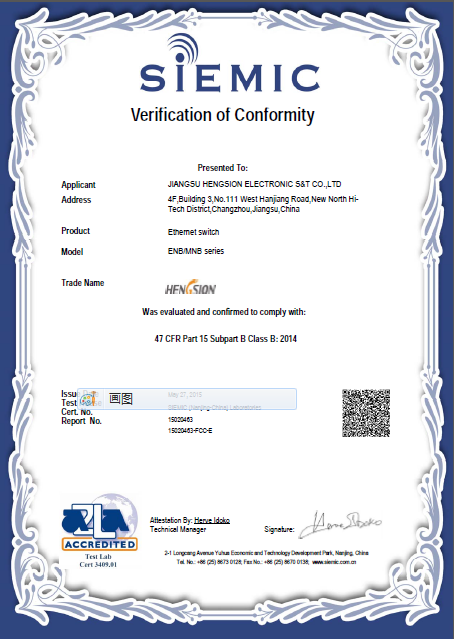 FCC Verification of Conformity of ENB /MNB series