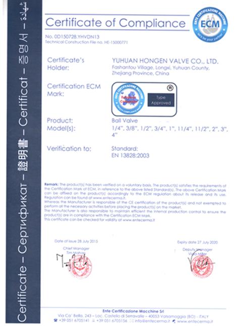 CE Certificate of Ball Valve