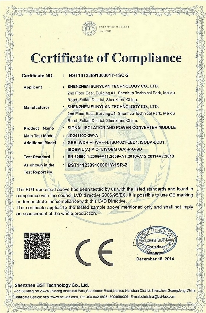 CE Certificate of Signal Isolation and Power Converter Module