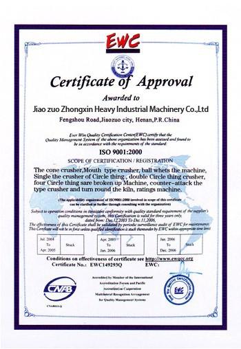 Zhongxin Heavy Industry CE Certificate of Approcal