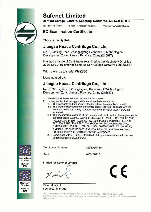 CE Certificate for Basket Centrifuges