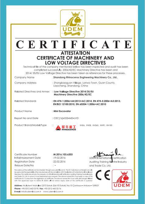 Ce Certification For Mini Excavator Shandong Rhinoceros
