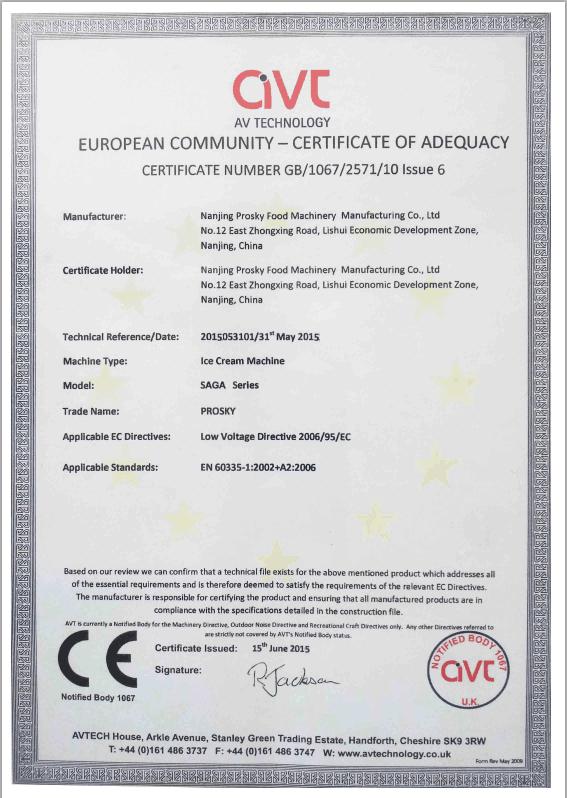Batch Freezer Certification