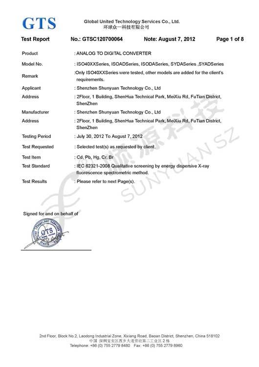 RoHS Certificate for a-D Converter