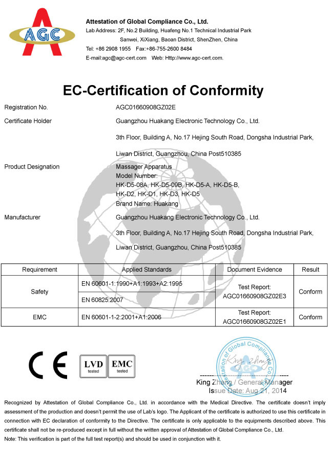 CE certificate for electronic pulse massager